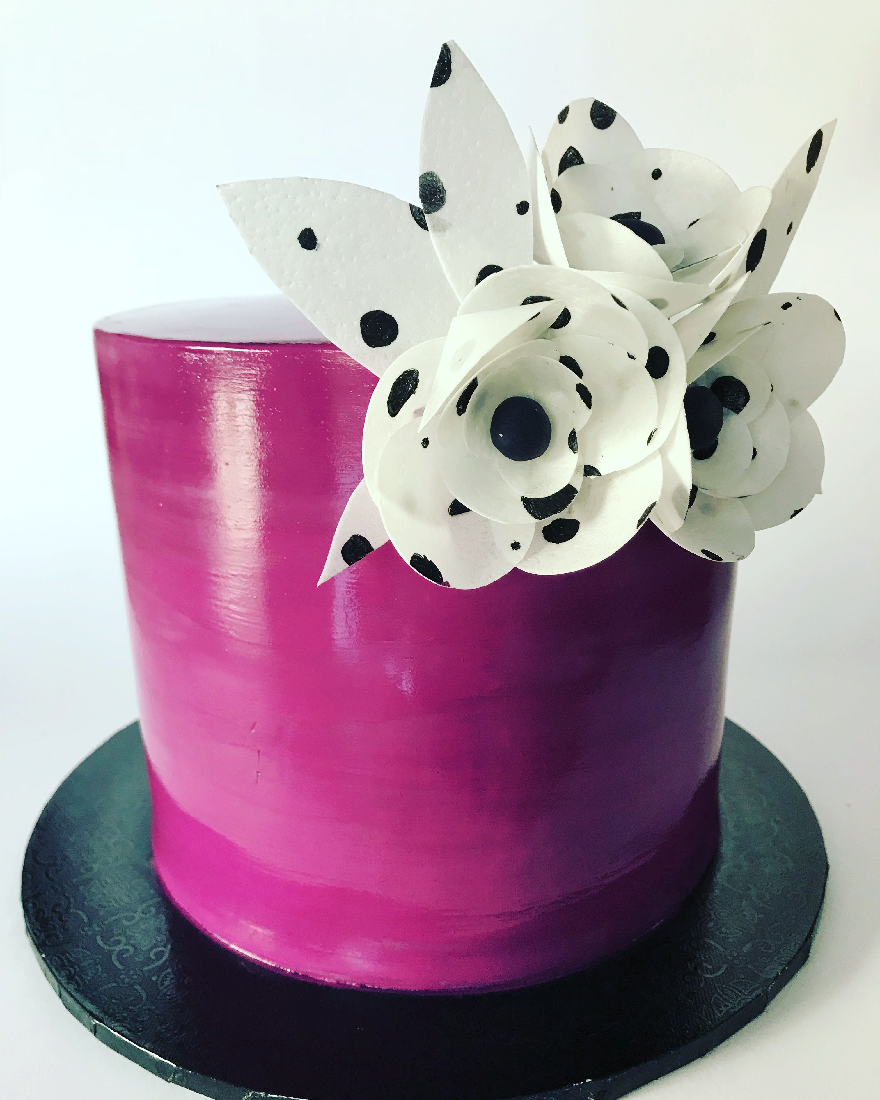 Haindpainted Purple Cake With Edible Wafer Paper Flowers Www