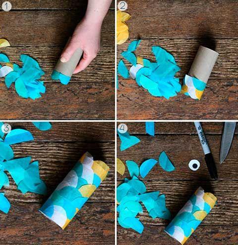 Como Hacer Peces Con Tubos De Carton Y Papel Crepe Manualidades Reciclaje Manualidades Manualidades Infantiles