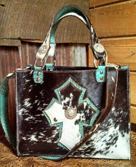 Cowhide Purse With Turquoise Cross