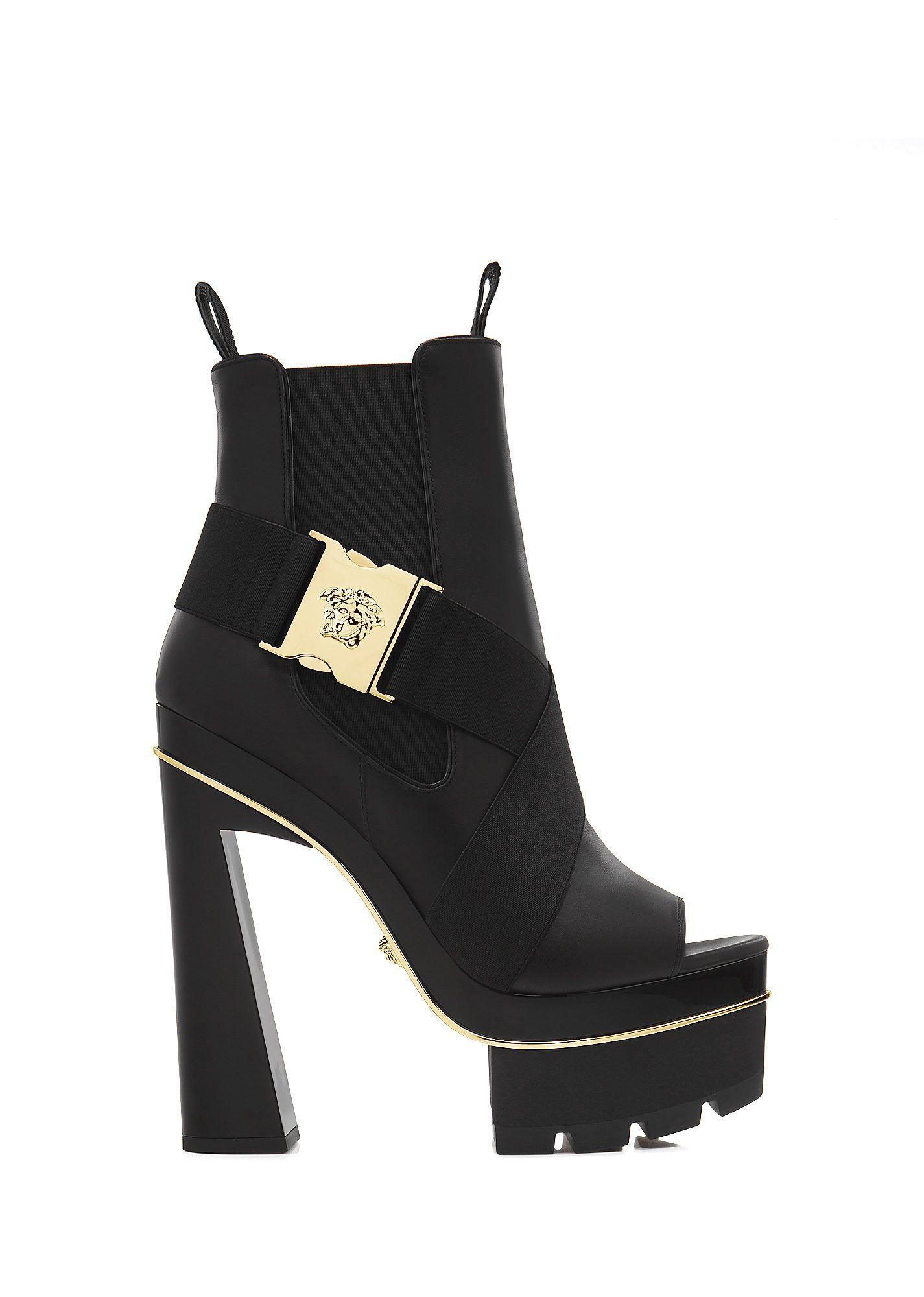 3ec8bac0957d VERSACE Medusa Asymmetric Strap Bootie.  versace  shoes  boots ...