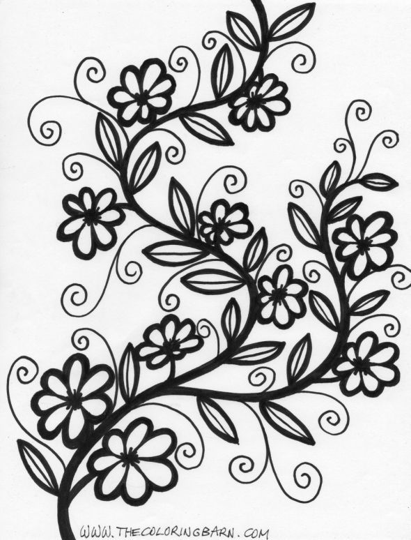Flowers On A Vine Coloring Page Flower Coloring Pages Mandala Coloring Pages Flower Doodles