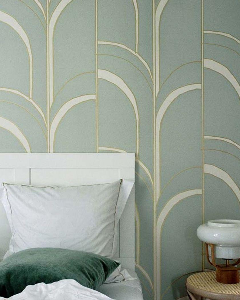 papier peint chambre art deco vert or  Papier peint chambre