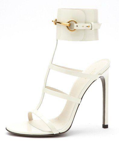 c9b7a5dcb24d Gucci Ursula Patent Leather Ankle Strap Sandals - Mystic White Ankle Strap  Sandals