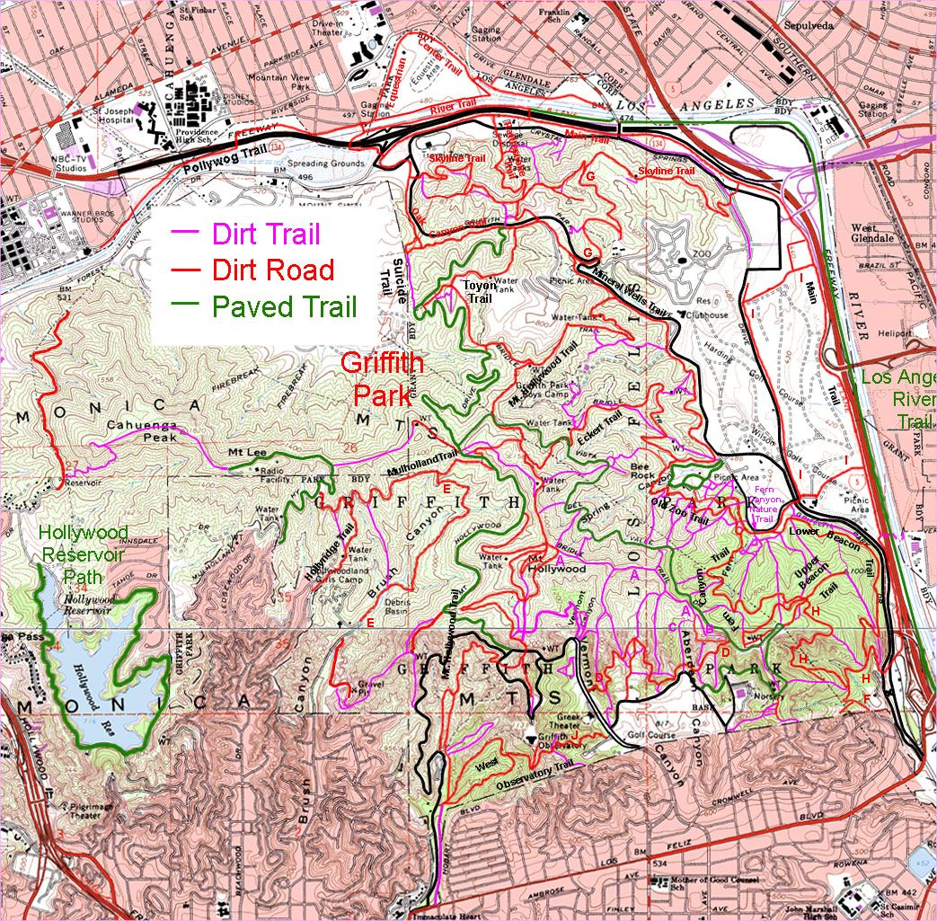 Downloadable map of the trails in Griffith Park rightclick save