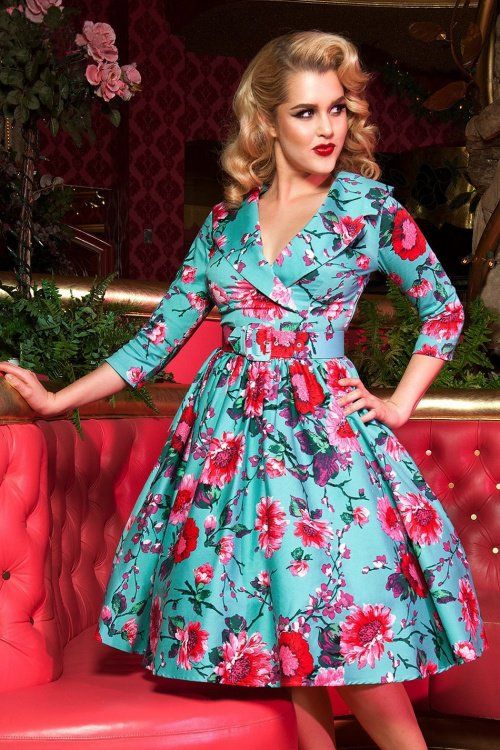 Pinup Couture - 50s Birdie Floral Dress in Turquoise and Pink