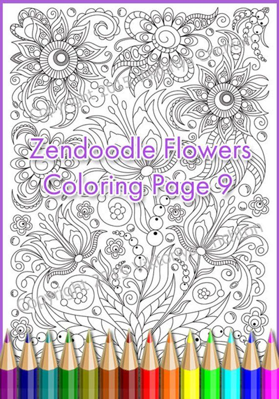Coloring Page Adults And Children PDF Printable Doodle Flowers Zendoodle Zentangle
