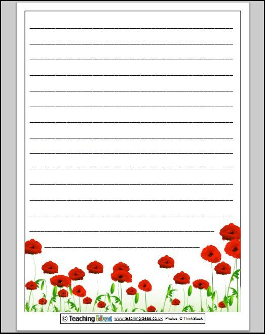 Remembrance Day Poppy Paper for Writing - Lined Borders/ Frames