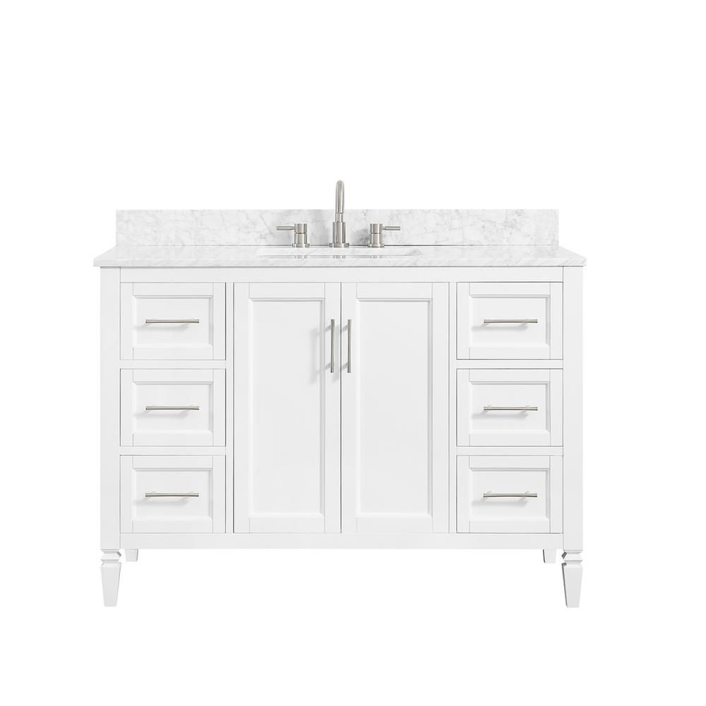 Home Decorators Collection Stockham 49 In W X 22 In D Bath Vanity In White With Marble Vanity Top In Carrara White With White Basin 19043 Vs49 Wt The Home D Marble Vanity