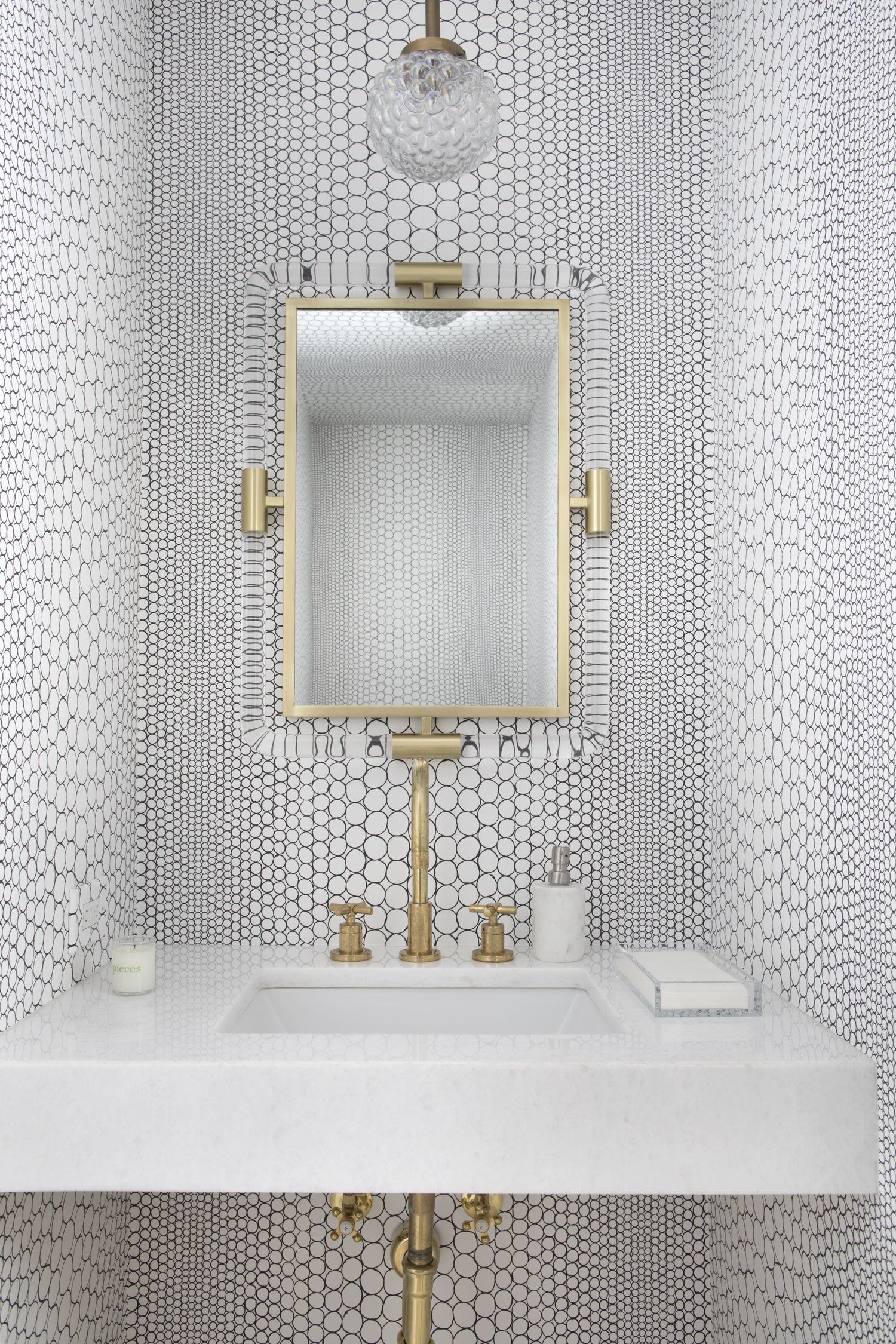 Photo C Sarahdorio Powder Room Wallpaper Modern Powder Room