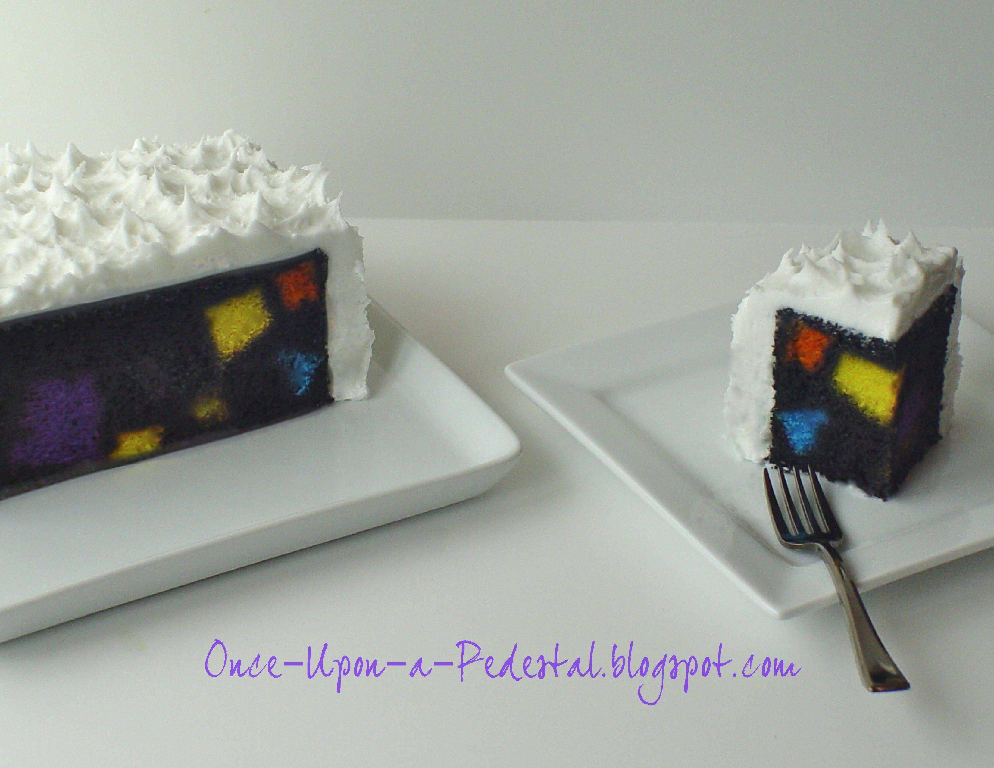 Twice baked cake. Cathedral window squares baked inside chocolate cake.