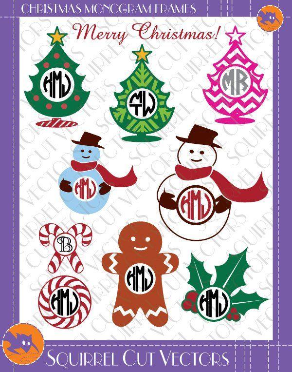 Christmas Monogram Frames Gingerbread man snowman chrismas