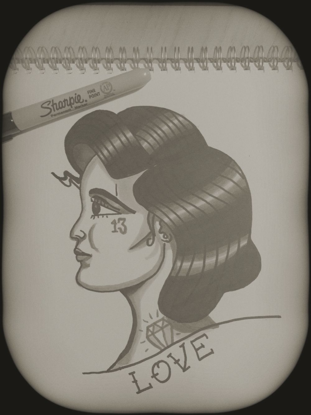 Traditional lady tattoo drawing addicted to these and my copic pens sharpie