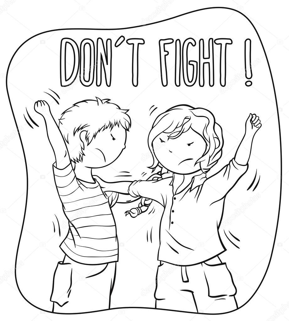 children's pages fighting | girl fighting Colouring Pages ...