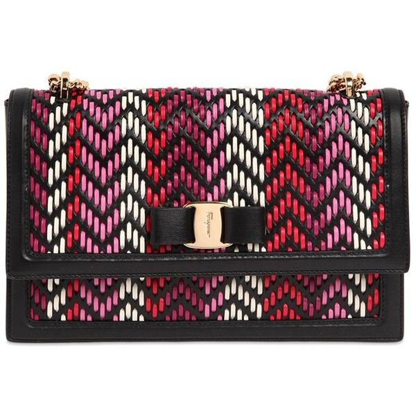 Salvatore Ferragamo Women Ginny Woven Leather Shoulder Bag ($1,625) ❤ liked on Polyvore featuring bags, handbags, shoulder bags, pink, pink shoulder handbags, chain strap handbags, pink handbags, salvatore ferragamo shoulder bag and salvatore ferragamo handbags