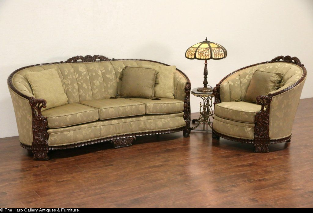 Carved Sofa Club Chair Set 1930 S Vintage New Upholstery