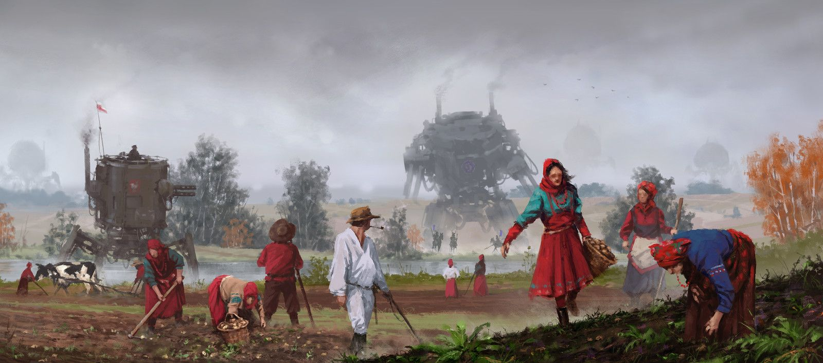 1920 invaders from afar, Jakub Rozalski on ArtStation at