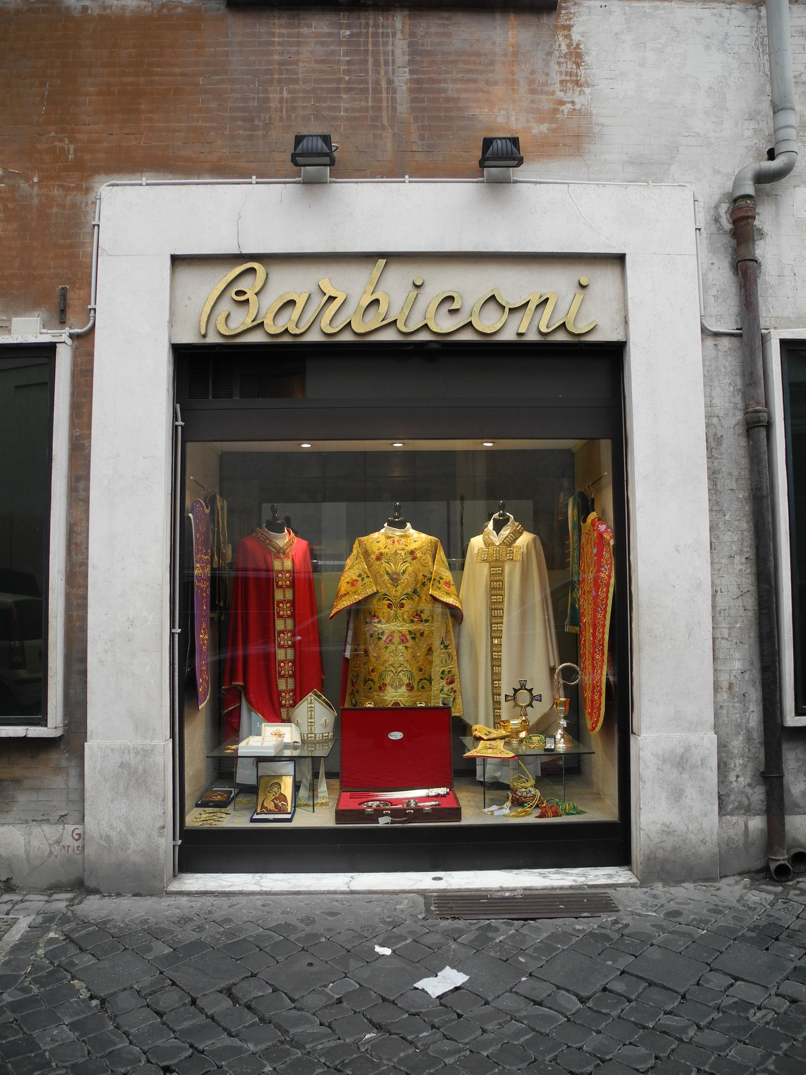 Another popular vestment shop in Rome: Barbiconi. (or Barbi's) https://lewisblayse.files.wordpress.com/2013/06/barbies3.jpg