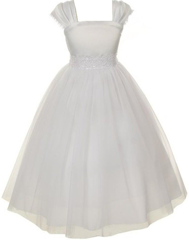 Little girls satin pearls wedding holy first communion special