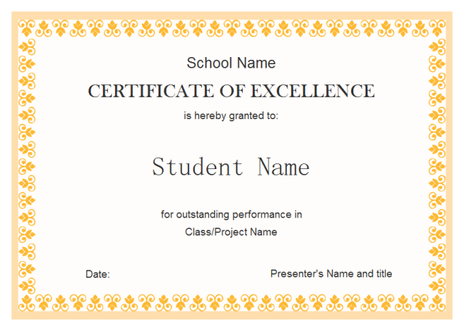 Free Certificate Of Excellence Template 1 Templates Example Templates Example