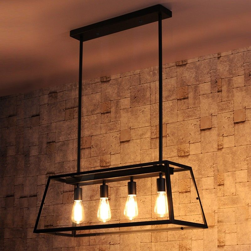 Maure Industrial Loft 4 Light Kitchen Island Pendant Chandelier Pendant Lights Ceiling Lights