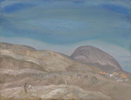 Viktor Popkov (Russian, 1946-2001), March in Gurzuf, 1972. Oil on cardboard laid on canvas, 57.5 x 74.5 cm.