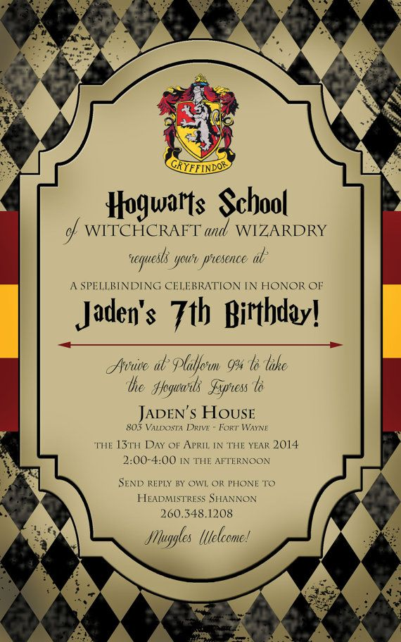 Harry Potter Invitations Theme Halloween Birthday Invitation