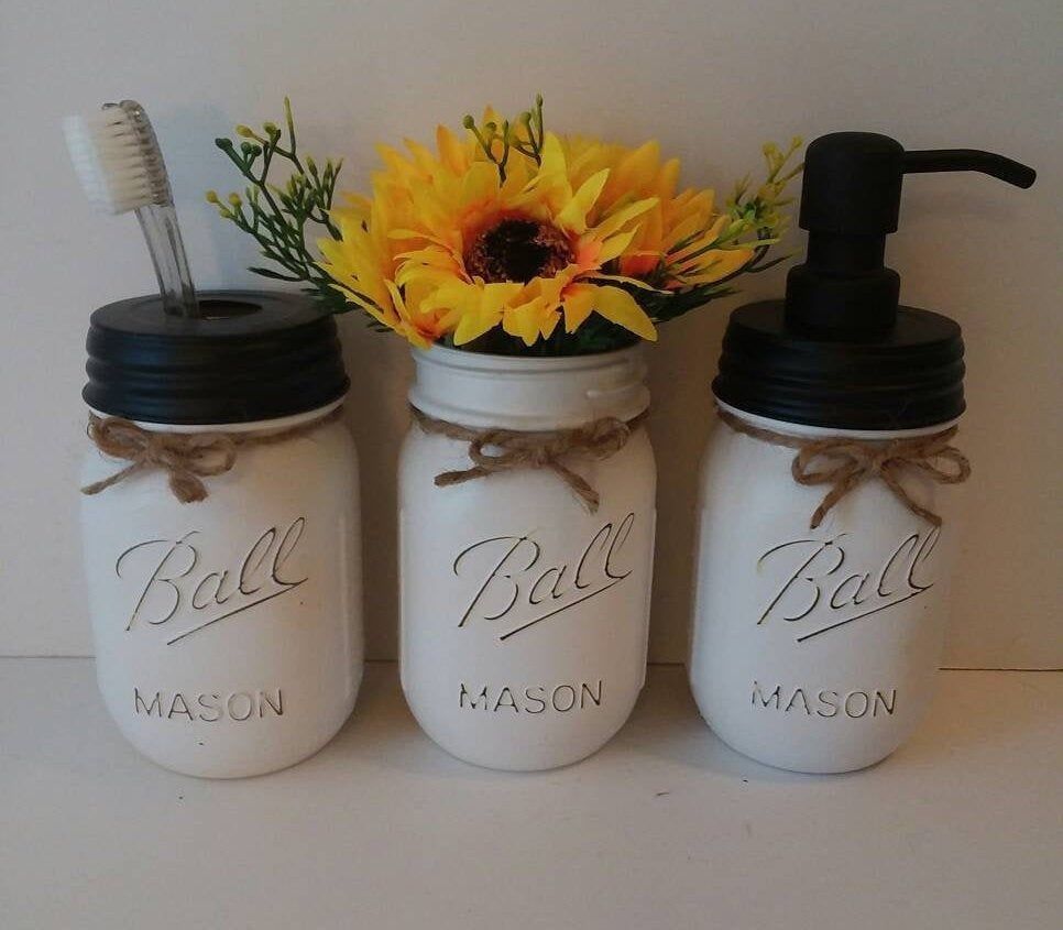 3 Piece Mason Jar Bathroom Set,Bathroom Set, Bathroom Storage, Mason Jar Set,Bathroom, Mason Jar Decor, Black/White Soap Dispenser, Rustic