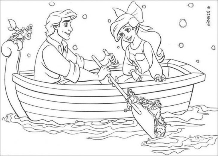 The Little Mermaid Ariel And Prince Eric Coloring Page Disney