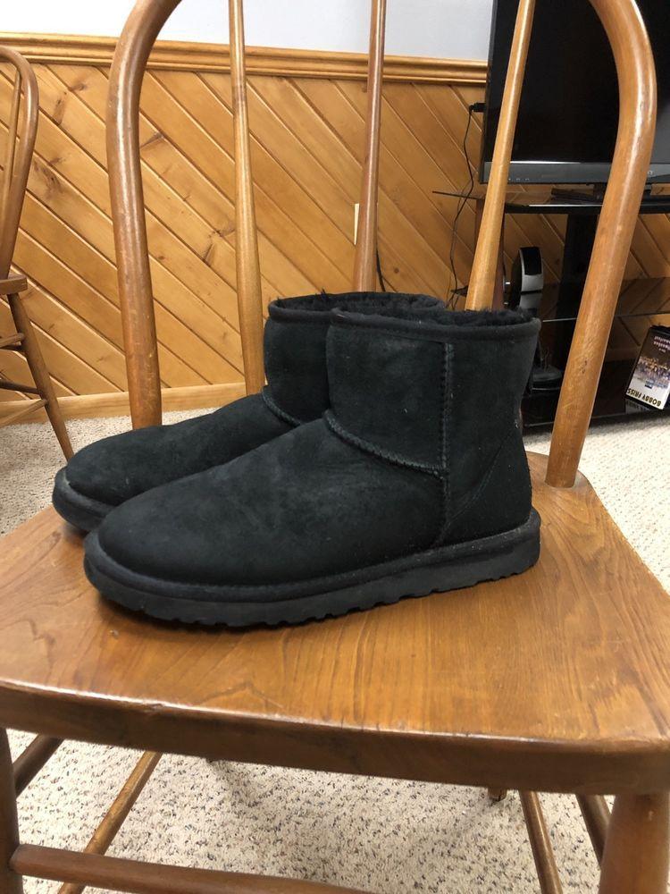 889901304bf UGG Australia Womens Classic Mini Black Suede Shearling Boots Size 8 ...