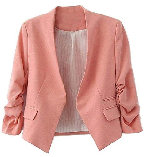 xiaokong Womens Solid Color Sexy PlusSize Open Front Blazer Pink 2XL >>> Check this awesome product by going to the link at the image.