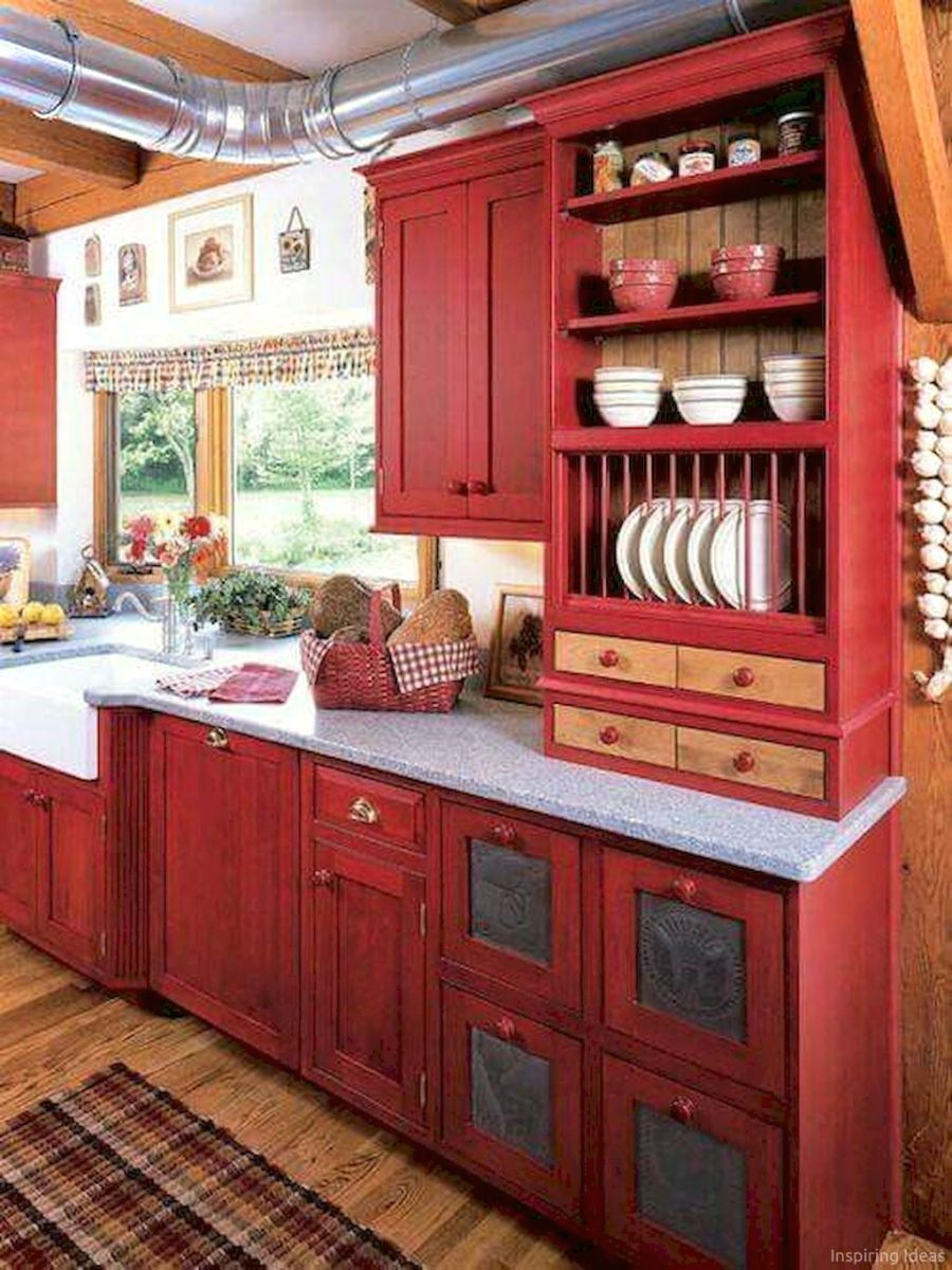 Arredamento Cucina Rossa Amazing Cottage Kitchen Cabinets Ideas048 Kitchens Cucina
