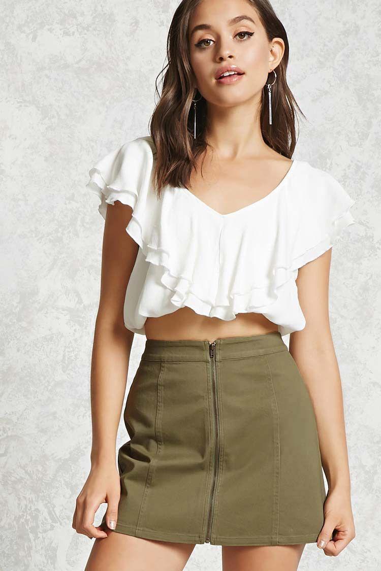 4e6540a67ef Zip-Front Denim Mini Skirt