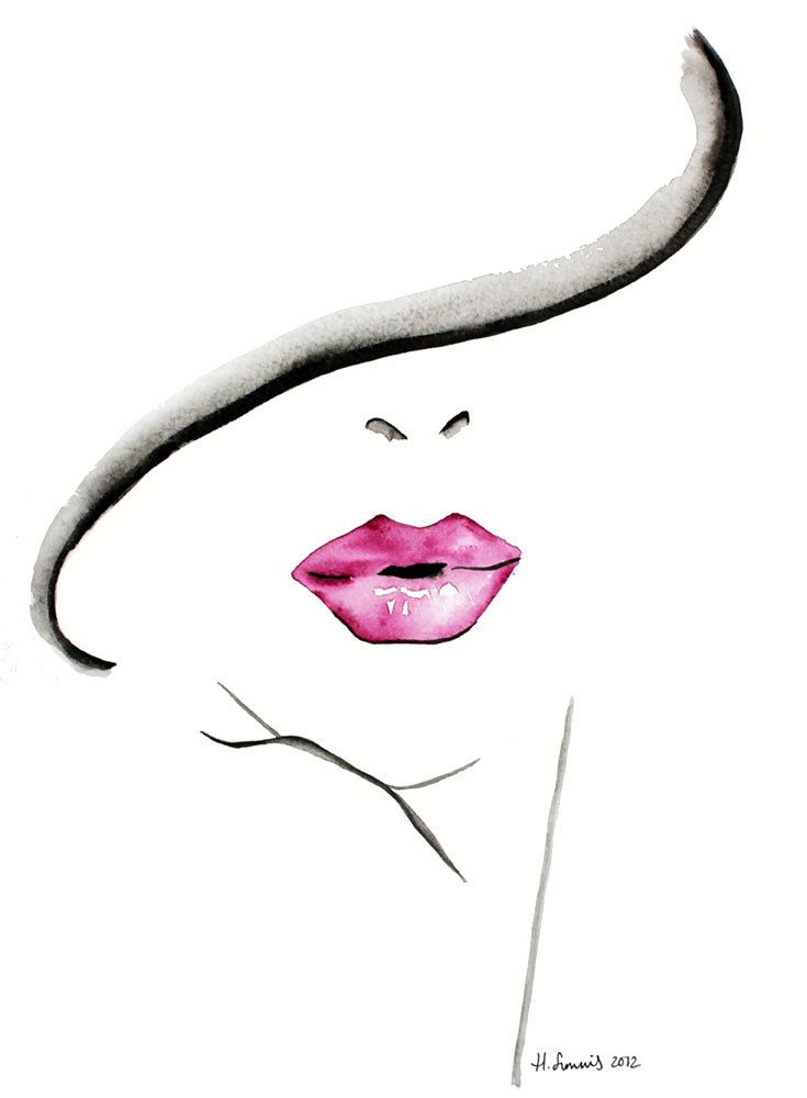 Fashion Illustration print by Helen Simms titled The Lipstick Conundrum, from simple watercolour, stylish, unique gift for her by HelenIllustration on Etsy https://www.etsy.com/listing/114403946/fashion-illustration-print-by-helen