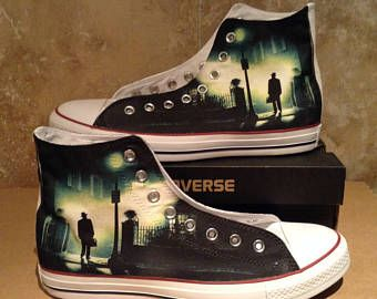 ee37fb41169 Exorcist horror scary cult movie design custom converse high top shoes