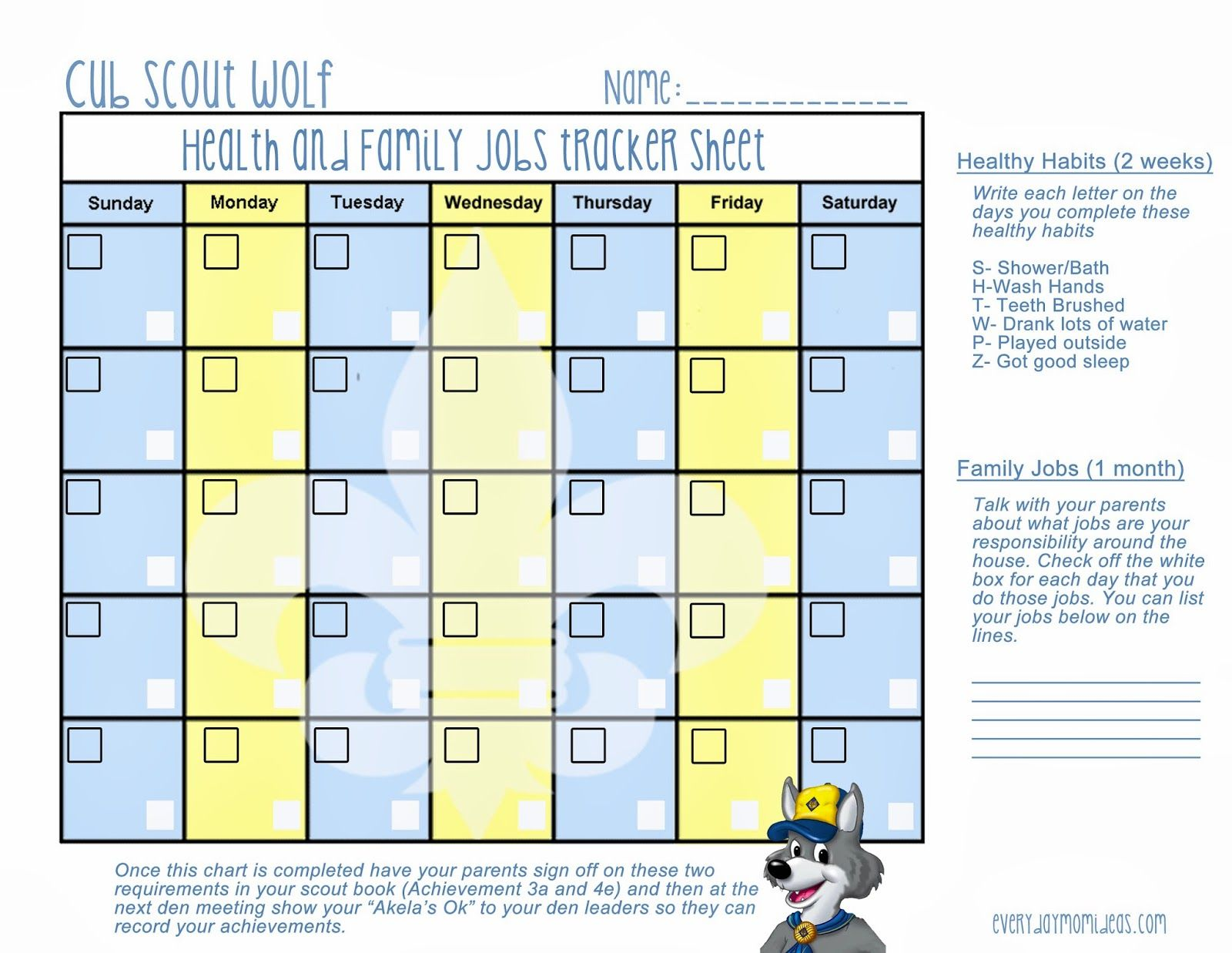 Chore charts for cub scouting healthy habits wolf scout lesson free printable also scouts rh pinterest