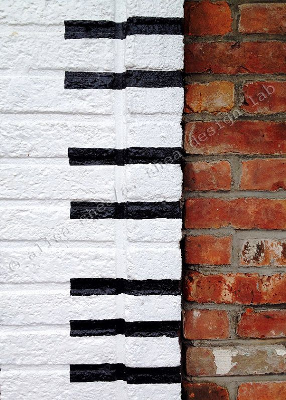 5x7 Black And White Painted Brick Music Art Photography Etsy Painted Brick Music Art Black And White