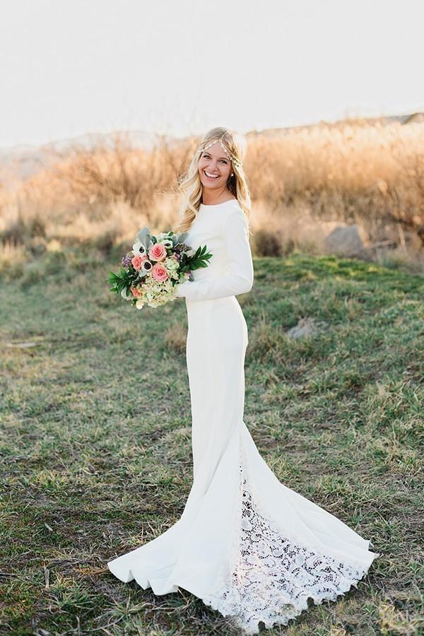 Vintage Long Sleeve Winter Wedding Dress 2016 Simple White Satin
