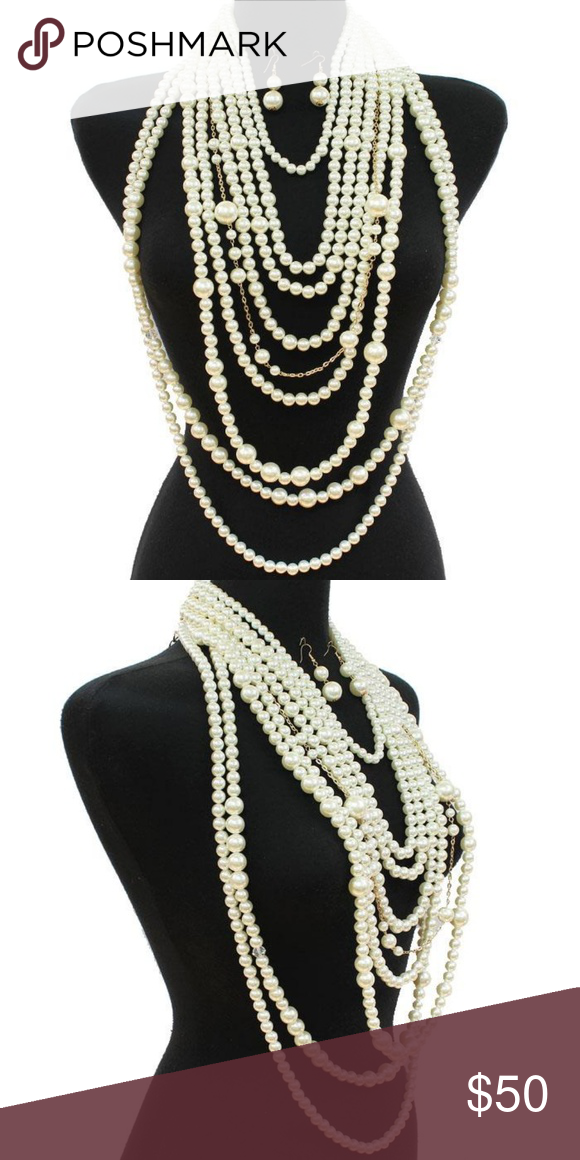 e6c5e7dac Cream Pearls and Gold Layered Style Necklace Set Gorgeous Glamorous Multi  Layered Chains Long Pearl Necklace and Earrings Set 23