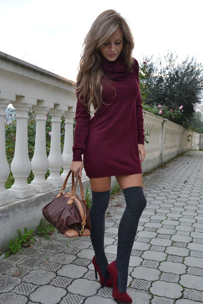f61044631036 KHS14 Dress Socks, Knee High Socks Outfit, High Socks Outfits, Sweater  Dresses,