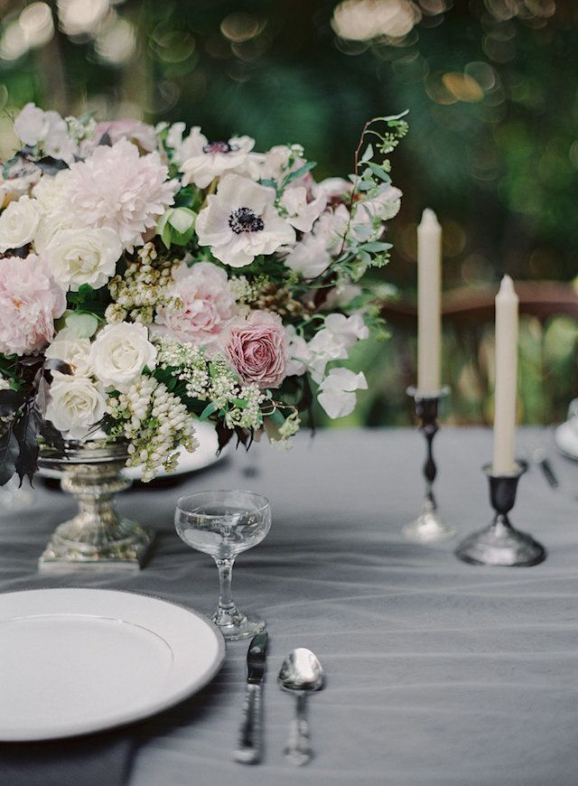Floral centerpiece in muted hues | Melanie Gabrielle Photography | see more on: http://burnettsboards.com/2014/05/enchanting-ballerina-themed-wedding/ #centerpiece
