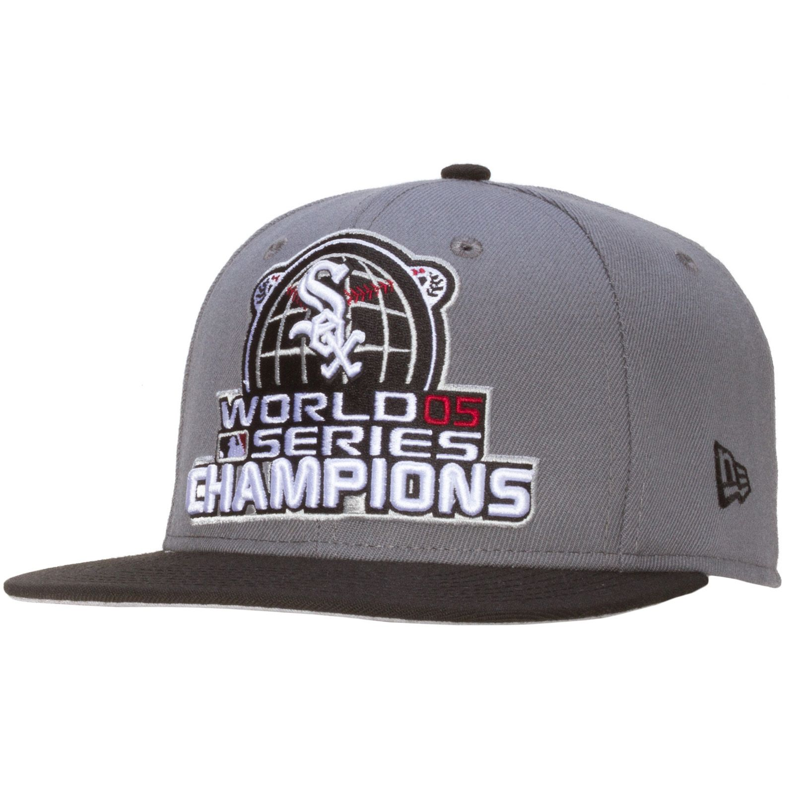chicago white sox grey and black 2005 world series champions snapback hat by new era