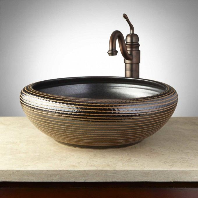Pembroke Hand-Glazed Pottery Vessel Sink - Desert Brown Powder - Vessel Sinks Bathroom