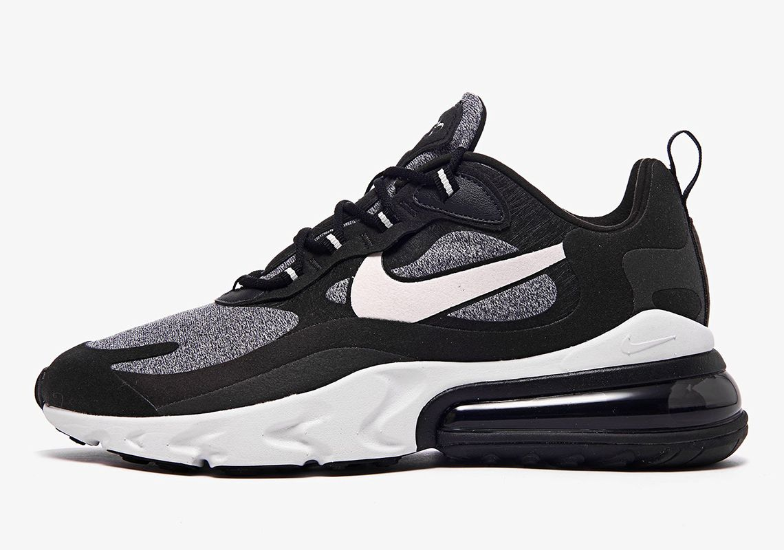 Nike Air Max 270 React Black Grey White Ao4971 001 At6174 001 Release Date Sneakernews Com Nike Calzas Futbol Sala