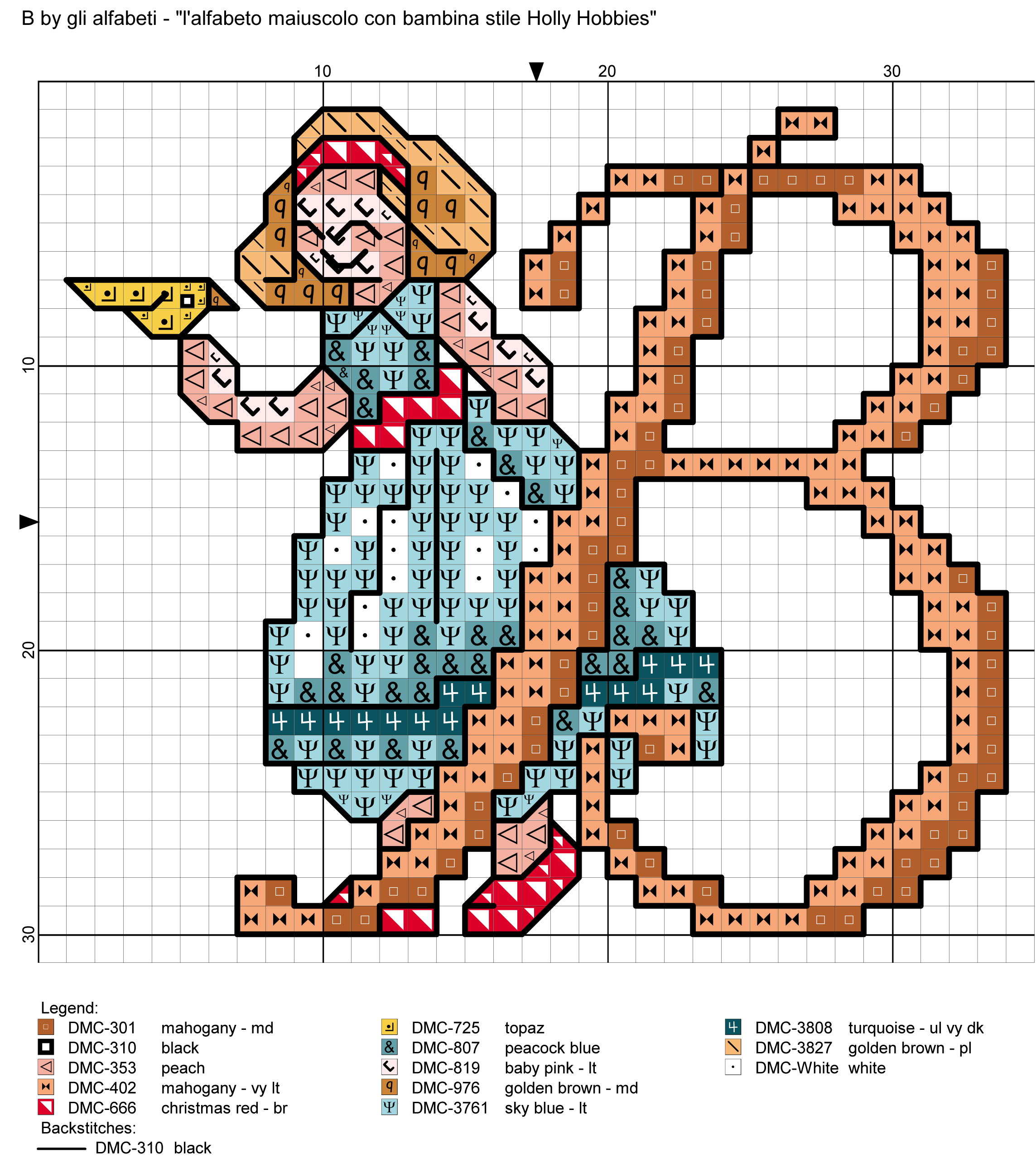 Alfabeto maiuscolo con bambina stile holly hobbies b for Lettere a punto a croce