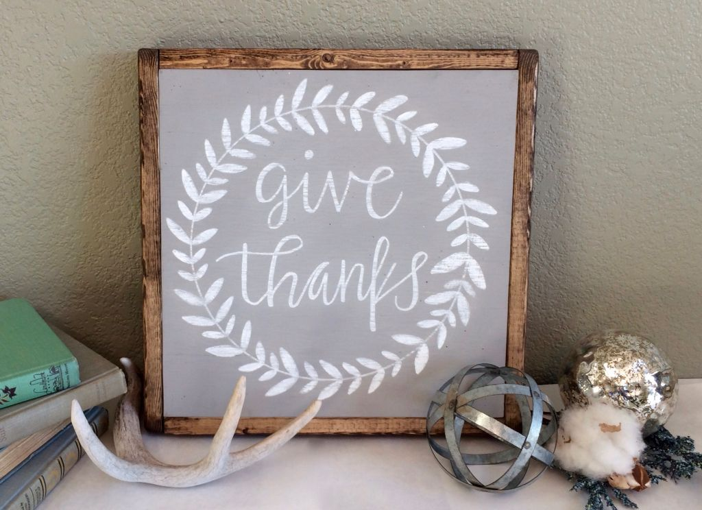 Give Thanks Sign, Grey And White Decor, Wood Signs, Thankful Signs