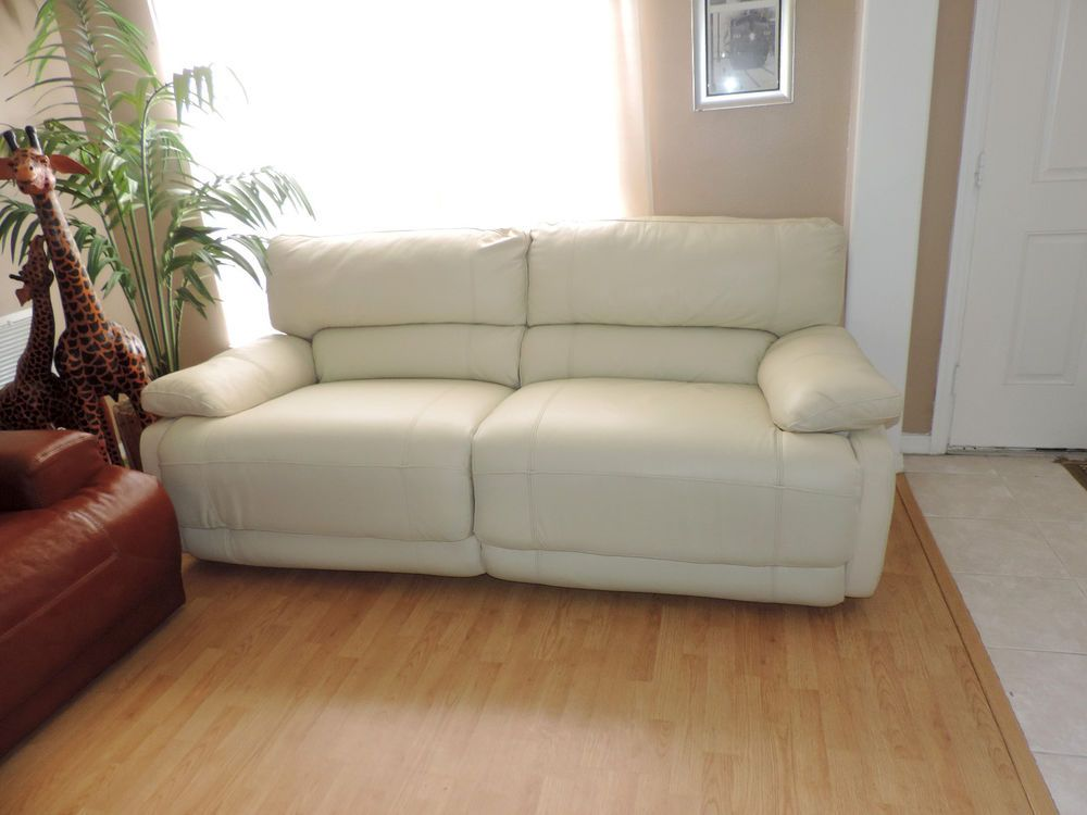 Macy S Nina Cream Leather Electric Reclining Sofa We Ship Anywhere Modern Leather Sofa Living Room Leather Leather Recliner