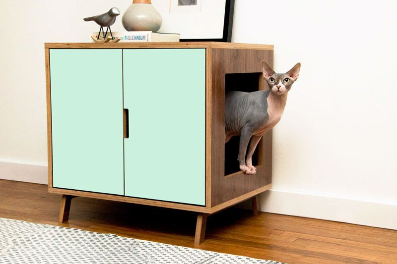 These Mid Century Modern Inspired Cabinets Hide A Cat S Litterbox Modern Pet Furniture Litter Box Furniture Pet Furniture