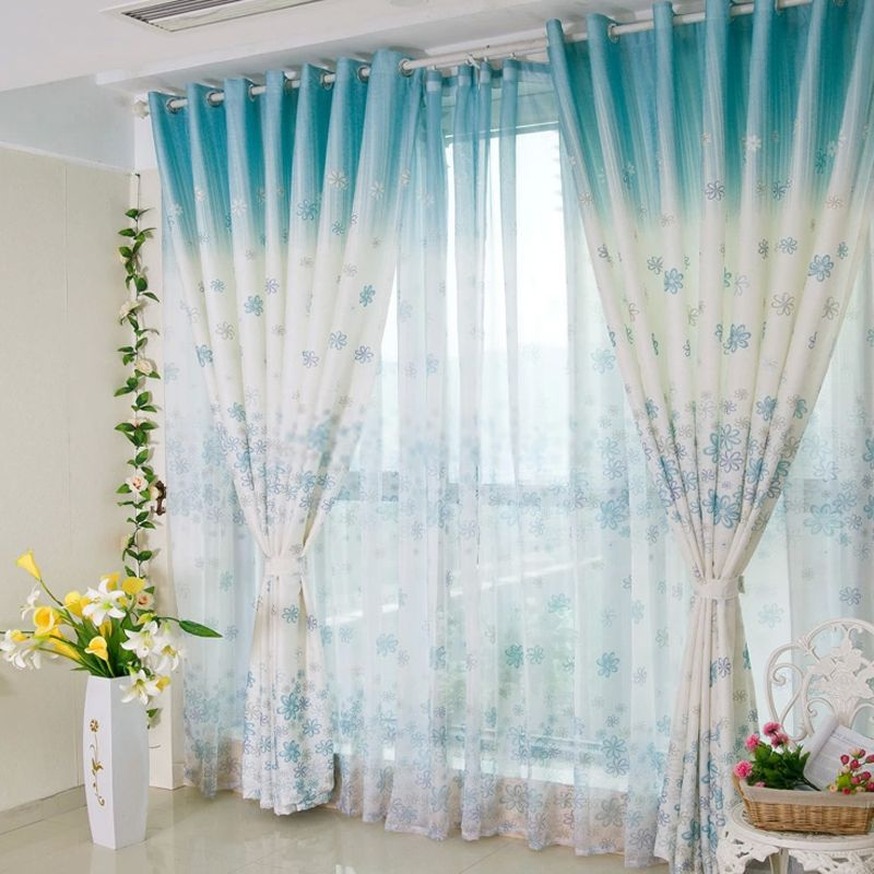 Beautiful And Pretty Bedroom Or Living Room Blue Floral Curtains