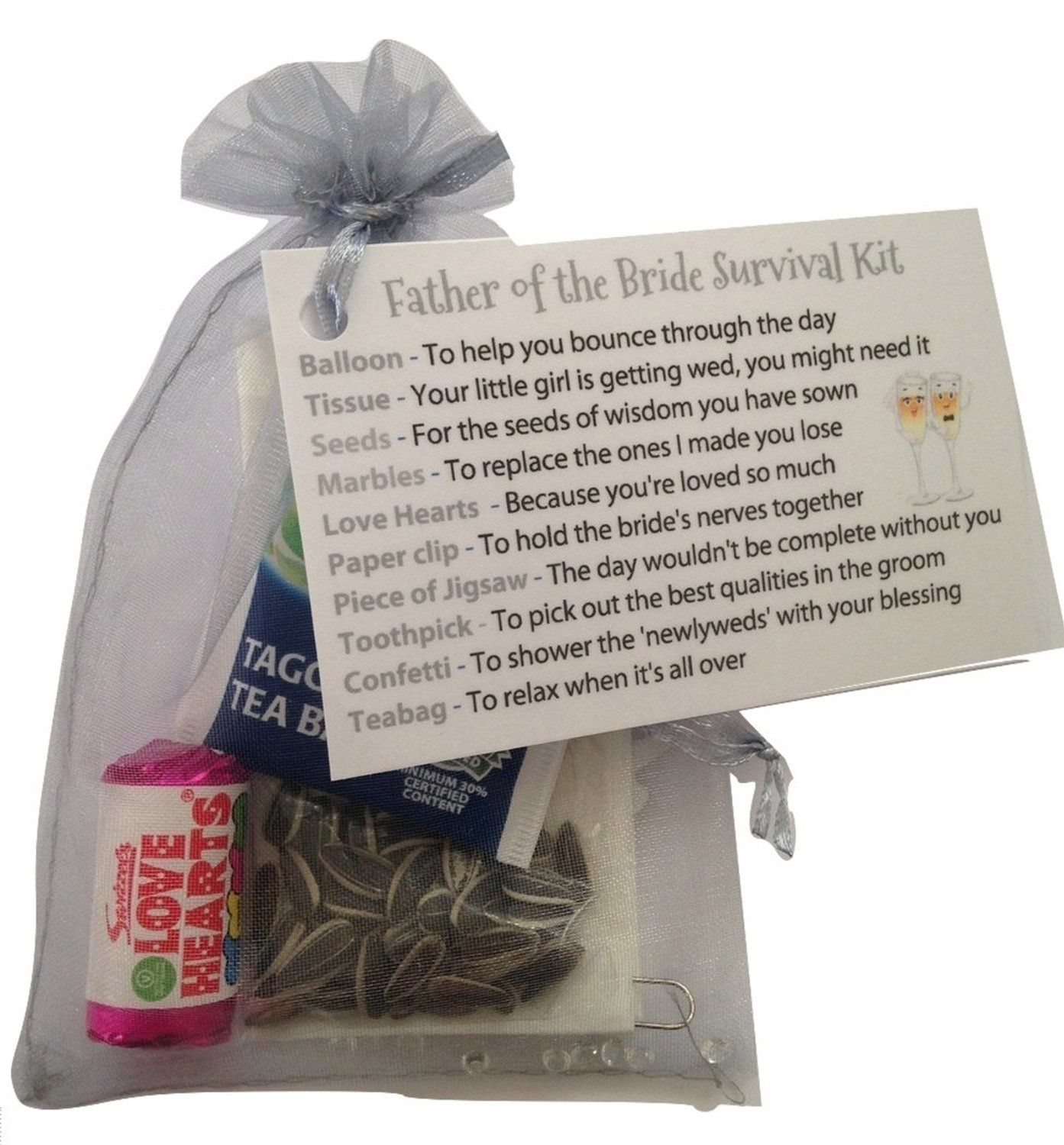 Father of the bride survival kit in silver graythank
