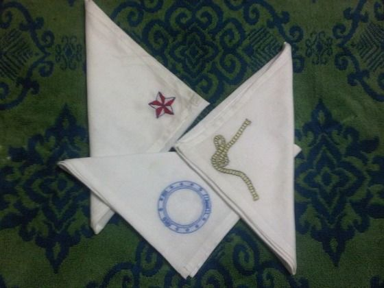 Nautical Handkerchiefs Hand Embroidered porthole rope & nautical star set $30.00 on Copious